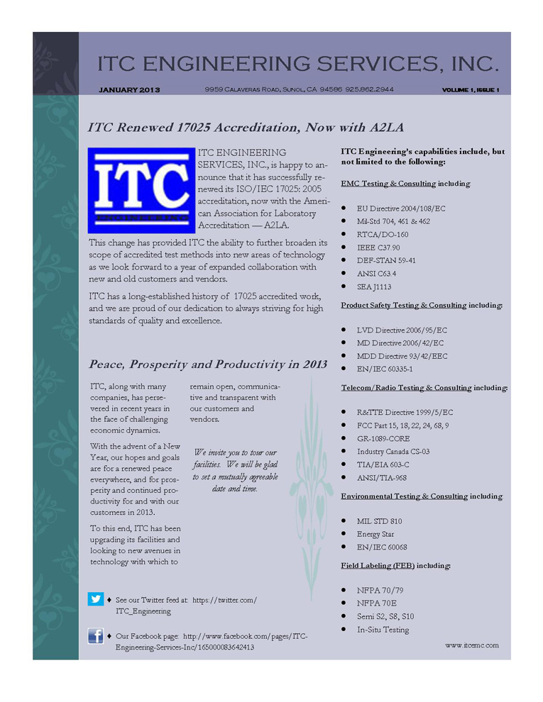 ITC Newsletter, VOLUME 1, ISSUE 1, January 2013