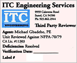 ITC Engineering Services Field Label (Third Pary Reviewer)
